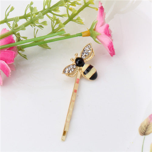 M MISM 1PC Hair Clip Cute Bee Rhinestone Alloy Hairgrip Girls Hair Accessories Lovely Hairpin Headwear For Children Daily Life-lilogal