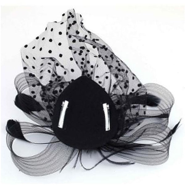 Women Hair Accessories Wedding Bridal Veils Decorated European Style Feather Fascinator Cocktail Party Hat Headwear Party-lilogal