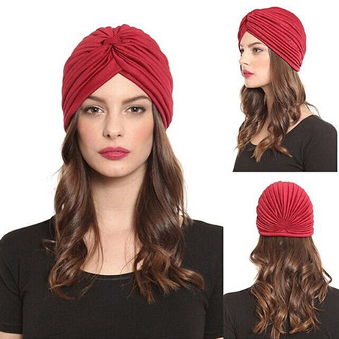 Women Stretchy Hat Turban Head Wrap Band Chemo Bandana Hijab Pleated Indian Cap Drop Shipping-lilogal