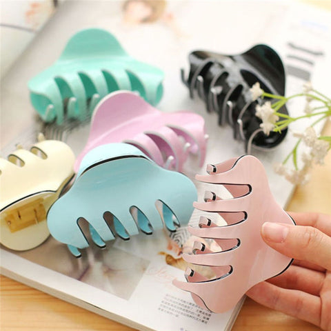 Women Hair Clip Large Size Acrylic Hairpins Solid Color Women Hair Crab Hair Claws Women Make UP Washing Tool Hair Accessories-lilogal