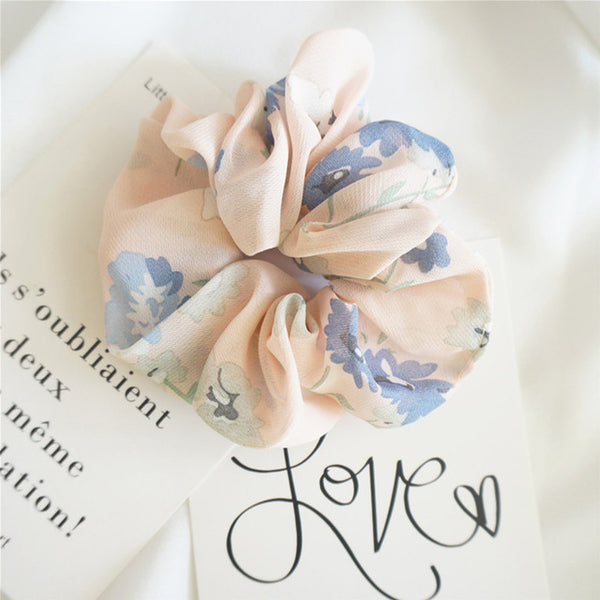 New Women Elegant Print Flower Cloth Elastic Hair Bands Ponytail Holder Scrunchie Rubber Bands Hair Ropes Lady Hair Accessories-lilogal