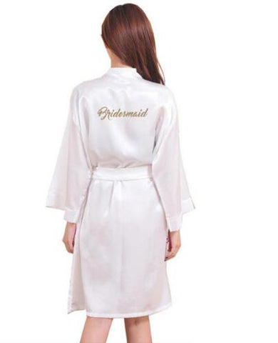 """Bridesmaid"" Robe Letter on the Back Wedding Robe Silk Satin Kimono Robe Fashion Night Robe Short Dressing Gown For Wom-lilogal"