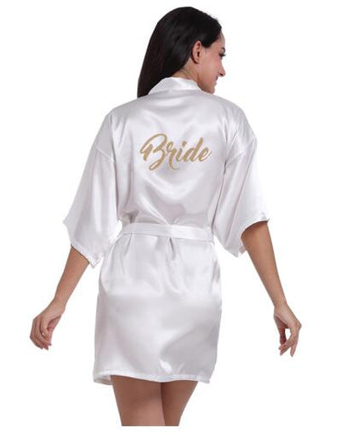 20180203b5 RB91 2017 Fashion Silk Bride of Mother Robe with Gold Letter Sexy Women  Short Satin Wedding
