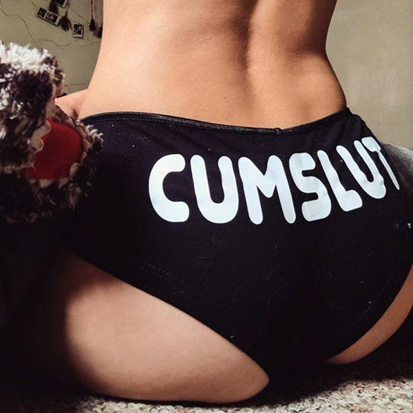 Women Sexy Lingerie G-string Briefs Underwear Panties T string Thongs Knickers CUMSLUT Letter Printing Sexy Women Panties-lilogal
