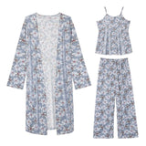 All Seasons Long Sleeve Silk Pijama Feminino Suit Tank Tops+Pants+Cardigan Women Lounge Pajama Sets Stain Silk Pijamas Sleepwear-lilogal