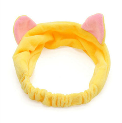 Women Ladies Cat Ears Headband Cute Yoga Makeup Elastic Turban Knotted Hair Band Headband pink yellow white black-lilogal