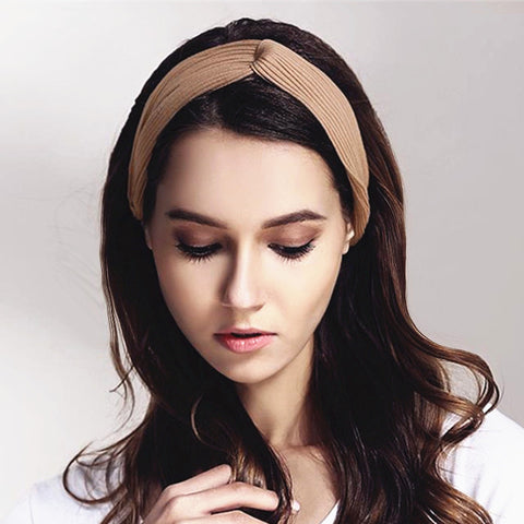 Women's Crochet Elastic Twist Headbands Bow Turban Headband Headwrap Hairbands Bandage Girls Headwear Headdress Hair Ornaments-lilogal