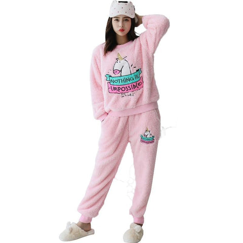 XCAMP Unicorn Pajamas Autumn And Winter Sleepwear For Women Fashion Hot Sale Unicorn Nightgown Sweet Unicorn Pajamas-lilogal