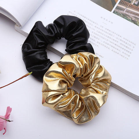 Women Pu Faux Leather Elastic Hair Ties Girls Hairband Rope Ponytail Holder Scrunchie Gold Black Headbands Accessories 2018-lilogal