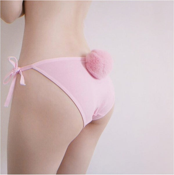 Women's Underwear Removable Rabbit Hair Ball Panties G String.Cute Ladies Girl's Cosplay Thong Lolita Bikini Briefs.Underpants-lilogal