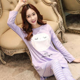 MCCKLE Women's O-Neck Tops and Pants Two-piece Pajama Set 2018 Autumn Korean Female Sleepwear Ladies Cartoon Homewears Pyjamas-lilogal