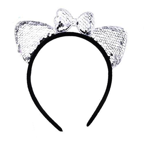 Womens Shiny Sequins Cat Hair Bands Cute Animal Ears Headband Lovely Bow Hair Accessories Girl child Party/Festival/Hairbands-lilogal
