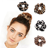 1Pcs simple Classic Smooth Animal Velvet hair Scrunchies Leopard Print Houndstooth patterns autumn winter hairbands accessory-lilogal