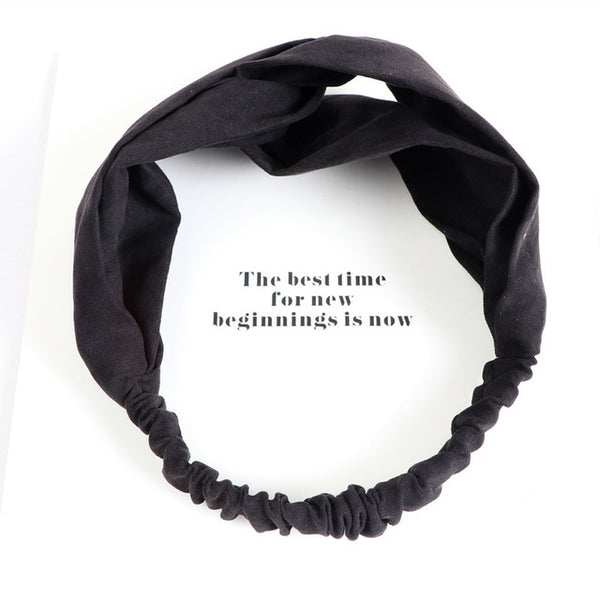 Women Spring Suede Knitted Headband Bohemian Vintage Cross Knot Elastic Hairband Girls Hair Accessories Hair Accessoires-lilogal