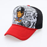 Summer Women's Trucker Hats Men's Adjustable Mesh Breathable Hip Hop Snapback Hats Letter Cartoon Baseball Caps-lilogal