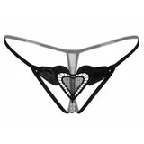 NEW 7 Colors Lady Crotchless Lace Flowers Pearls Thongs Love Heart Beading Sexy Women Fashion G-String Sexy Panties Underwear-lilogal