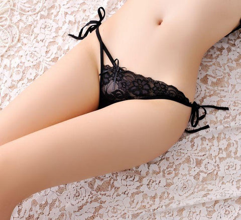 [1pcs]adjustable Rope Waist G String Sexy Women Tassel MicroThongs Briefs Low Waist Super Thin Lace Underwear Panties-lilogal