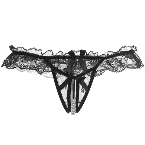 Women Sexy Opening Crotch Panties Ladies Lace G String Thongs Female Briefs Pearls Thongs T-back Lingerie Sexy Female Underwear-lilogal
