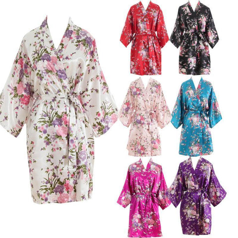 Women Short floral Robe Dressing Gown Bridal Wedding Bride Bridesmaid Kimono 2017-lilogal