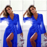 Women Summer Autumn Nightgowns Women Sexy Sleepwear Night-dress Women's Sexy Sleepwear Female Mesh Lace Long Bathrobe Pajamas-lilogal
