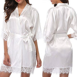 Women Sexy Wedding Dress Gown Short Ice Silk Bride Robe Lace Kimono Nightwear-lilogal