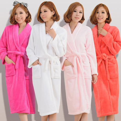 Women's Stitch Flannel Towel Sleeprobes 2018 Autumn Female Flannel Nightwear Couple Sashes Bow Tie Thicken Warm Bathrobes-lilogal