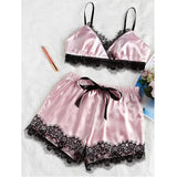 Womens Sexy Satin Lace Bra Cropped Top Shorts Babydoll Sleepwear Pajama Set Nightwear-lilogal