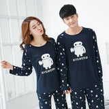 high quality Spring Autumn new Cotton Couple Pajamas set Long Sleeved Sleepwear suit Men and Women casual Homewear lover Pajamas-lilogal