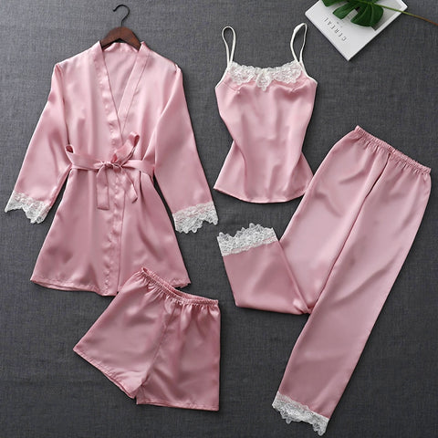 ZOOLIM Autumn Silk Pajamas Sets for Women 4 Pieces Pijamas with Belt Satin Sleepwear Elegant Lace Nightwear Sexy Sleep Lounge-lilogal