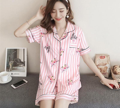 Cute Cartoon Women's Pajama Sets Cotton Print 2 Pieces Set Crop Top Shorts women Casual turndown Collar Pajamas Suit Homewear-lilogal