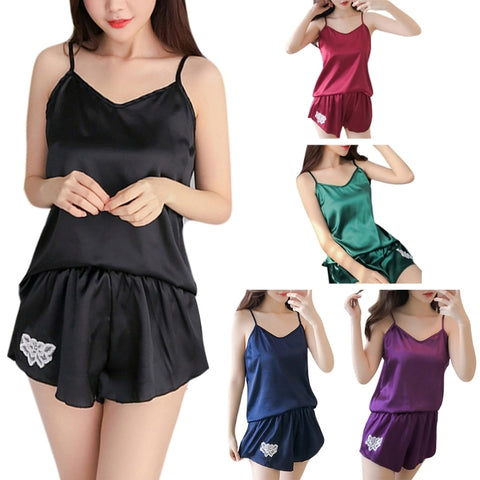 Womens Sexy Faux Silk Sleeveless Camis Pajamas Set Flower Embroidery Sleepwear-lilogal