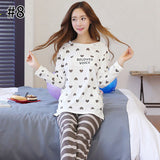 Cute Cartoon Women Pajamas Sets Autumn Winter Women Pajamas Ladies Round Neck Sleepwear Female Girls Long Sleeves Nightgown-lilogal