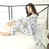 2018 Sring Summer female print cute 3 pieces Floral pajamas sets women sexy floral cotton Sleepwear bathrobe pyjamas Pants suits-lilogal