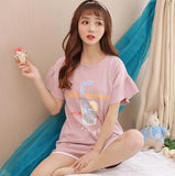 Fdfklak Cartoon Cotton Blend Pajamas Women Short Sleeve Pyjamas Women Sleepwear Set Lady Nightwear Home Clothes pijama feminino-lilogal