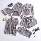 Womens Silk Pyjamas Set 7 Pieces Set pajamas 2018 female autumn winter silk sleepwear pijama casual comfortable womens home wear-lilogal