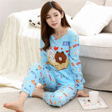 Women Long Sleeve sweet Floral print Sleepwear suit spring Autumn Pajamas Set young Girl Nightgown casual homewear Pijamas Mujer-lilogal