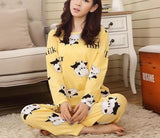 Spring Polyester Pajama Sets Long Sleeve Pajamas Homewear Print Pajamas Set Women-lilogal