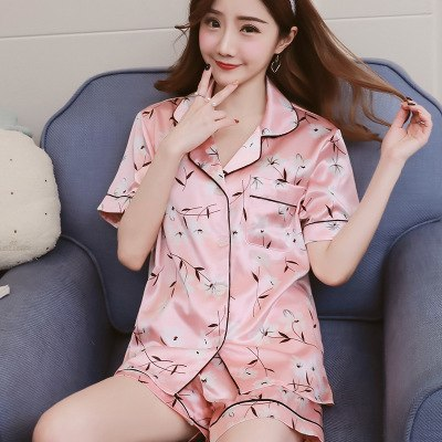 Thoshine Brand Summer China Satin Silk Women Print Pajamas Sets Short Sleeve Turn Down Collar Female Button Closure Sleepwear-lilogal
