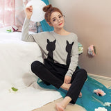 Hot 2018 Spring Autumn Womens Pajama Sets O-Neck Cartoon Long Sleeve Women Sleepwear Pajamas Girls Nightgown for woman Plus-lilogal