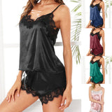 Hot Sexy Women Sleepwear solid Sleeveless Attractive Strap comfortable Nightwear Lace soft Trim Satin Cami Tops Pajama Sets 9.5-lilogal