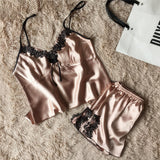 Sexy Satin Pajamas Set Lace Sleepwear Vest+Shorts Intimates 2pcs Pajamas Sets Women Babydoll Lingerie-lilogal