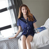Ladies Summer Casual Sexy Elegant Collar Ice Silk Open Shirt Short Sleeve Shorts Home Service Sweet Sleepwear Suit Pajamas Sets-lilogal