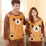 Autumn Winter Couple Bear Cute Cartoon Pajama with Long Sleeve Long Pant O Neck Warm Flannel Large Size Pajama Sets Home Suits-lilogal