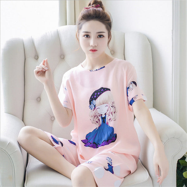 Pajamas sets Summer New women Lovely Short Sleeve sleepwear Suit Girl Thin Sweet Home Furnishing wear ladies soft nightgown-lilogal