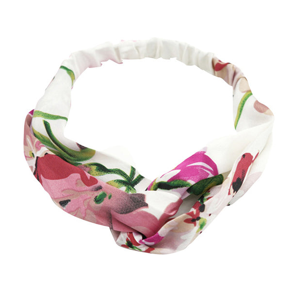 New Women Silk Flower Headband Flower Head Wrap Girl Hairbands Floral Print Hair Band Comfortable-lilogal