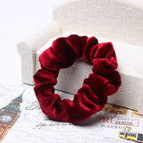 Women Polyester Velvet Elastic Hair Scrunchie Ponytail Donut Grip Loop Holder Stretchy Hair Accessories 7 Colors S5424-lilogal