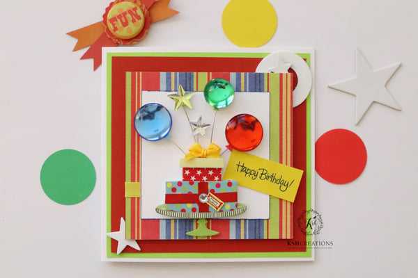 "Handcrafted ""Balloon Birthday"" Greeting Card"