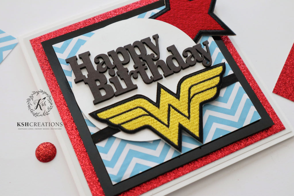 "Handcrafted ""Wonder Woman"" Birthday Card by KSH Creations"