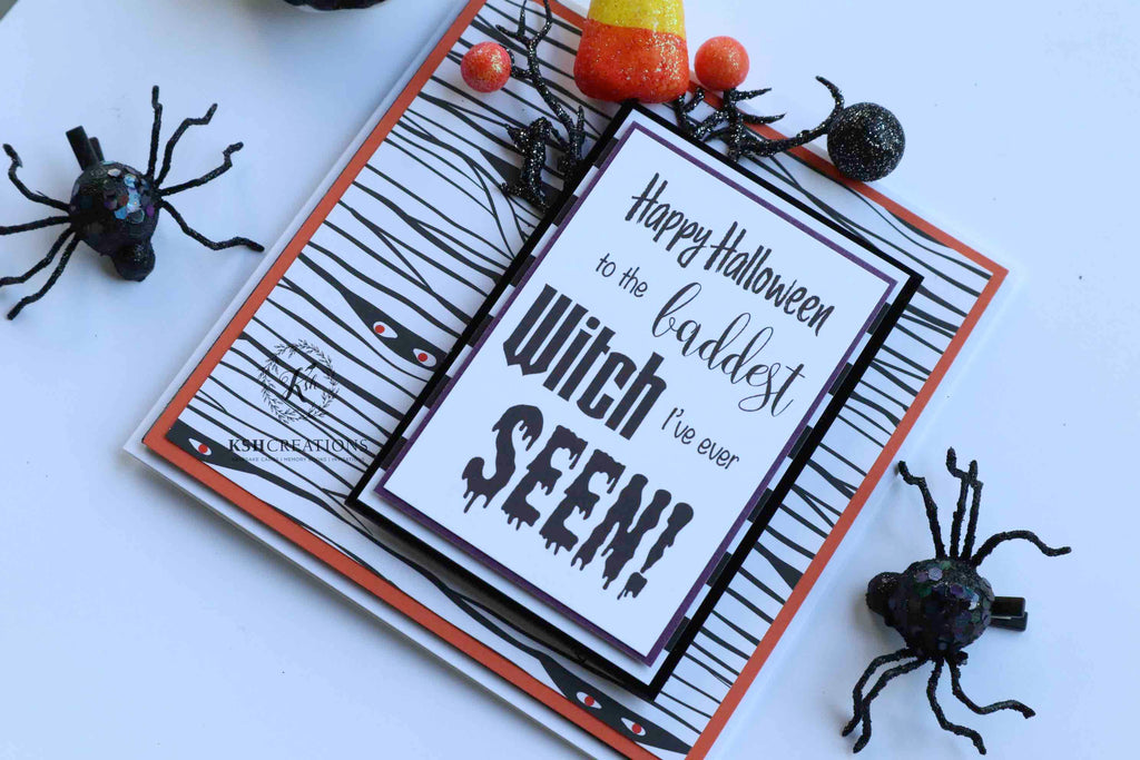 "Handcrafted ""Baddest Witch"" Halloween Card"