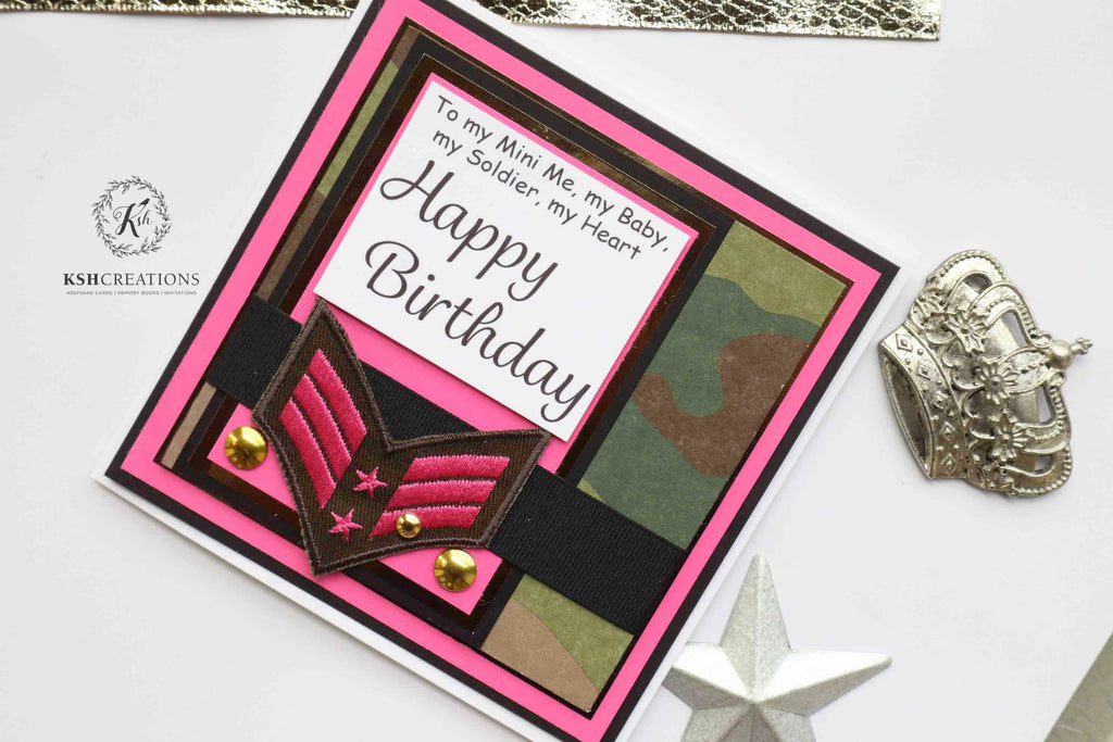 "Handcrafted ""Mini Me-Soldier"" Birthday Card"